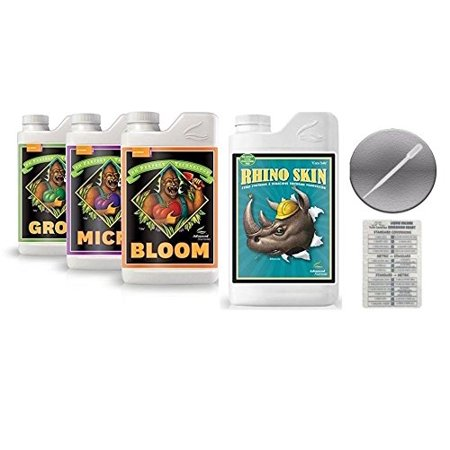 Advanced Nutrients pH Perfect Bloom Grow Micro 1 Liter and Rhino Skin 1 Liter with  Conversion Chart and 3mL (Best Ph For Skin)