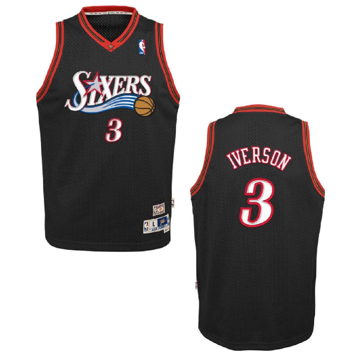 Philadelphia 76ers Allen Iverson Youth Black Swingman Stitched Jersey