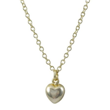 Dlux Jewels Gold Plated Brass Puffy Heart Charm & Large Gold Plated Brass Chain