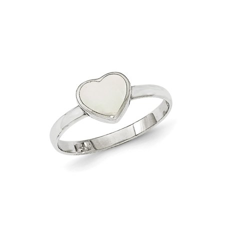 Sterling Silver Polished White Mother of Pearl Ring, Size 7
