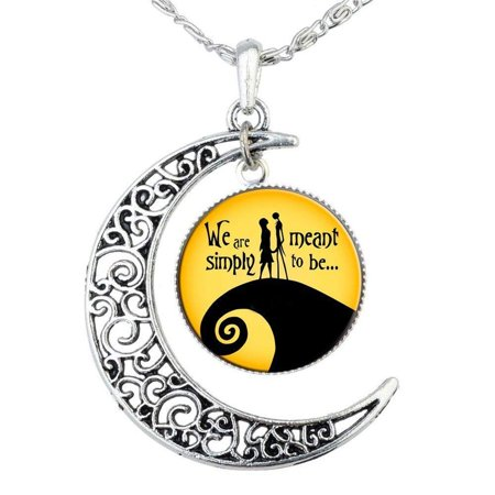 Jack Skellington Necklace Pendant Gift, Jack and Sally Nightmare Before Christmas](Nightmare Before Christmas Couples Necklace)