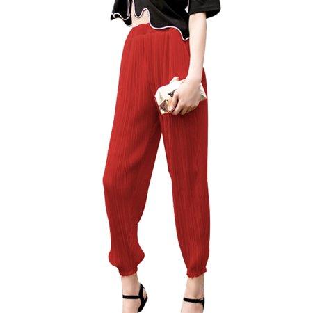 Pleated Design Elastic Waist Chiffon Harem Pants for Women