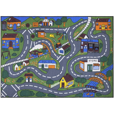 Ottomanson Jenny Grey Base Educational City Life Road Traffic Non-Slip Area Rugs For Kids