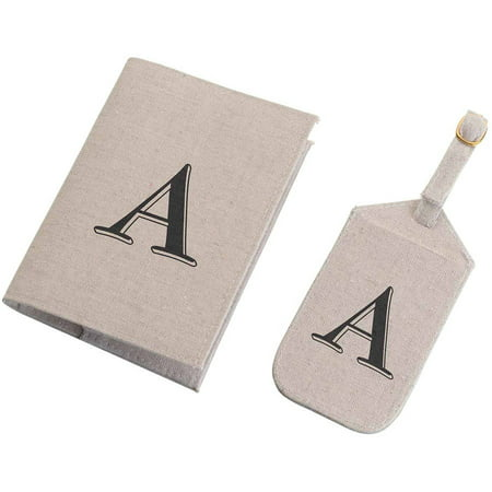 (Tan Monogram Luggage Tag & Passport Cover Set)