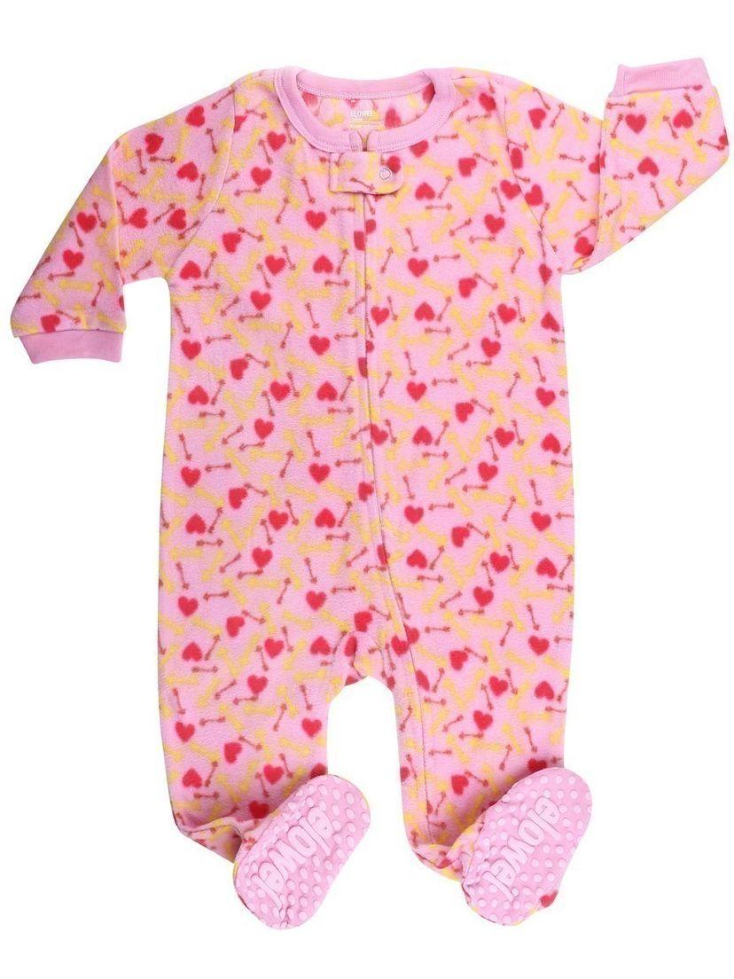 Elowel Little Girls Pink Dog Food Print Footed Fleece Sleeper Pajama