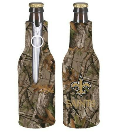 Image of 12oz Bottle Cooler - Zipper Neoprene Koozie - Camo - NFL - New Orleans Saints