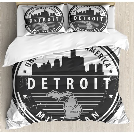 Michigan State Pillow Sham (Detroit Duvet Cover Set, Damaged Old Stamp of Michigan USA with City Map Location Tourism Travel Icon, Decorative Bedding Set with Pillow Shams, Black White Grey, by Ambesonne)