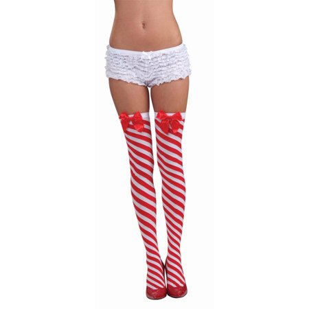 Candy Cane Stockings Costume Hosiery Accessory Size Standard - Candy Cane Costumes