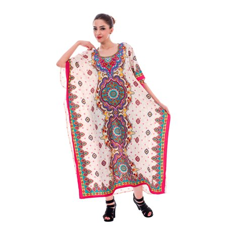 9aedc8ea12f Off-White Kaftan Dresses for Women Floral Beach Summer Caftans for Ladies  Party Wear Paisley
