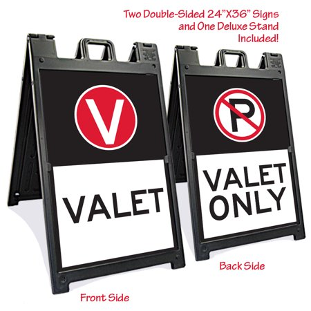 Black Signicade Deluxe with two Valet Parking signs (2 Parking Signs)