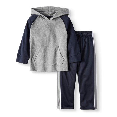 Long Sleeve Raglan Hoodie & Tricot Pants, 2pc Outfit Set (Toddler Boys)
