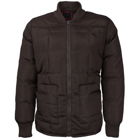 Dark Brown Jacket (vkwear Men's Quilted Padded Heavyweight Puffer Bomber Jacket VAQ (Dark Brown,)