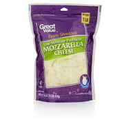 Great Value Finely Shredded Low-Moisture Part-Skim Mozzarella Cheese, 16 oz