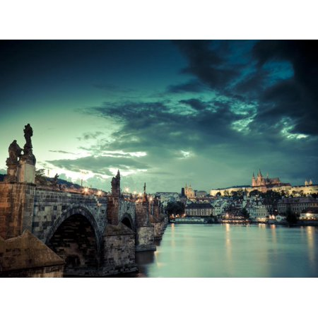 Czech Republic, Prague, Stare Mesto (Old Town), Charles Bridge, Hradcany Castle and St. Vitus Cathe Print Wall Art By Michele (St Charles Town Center)