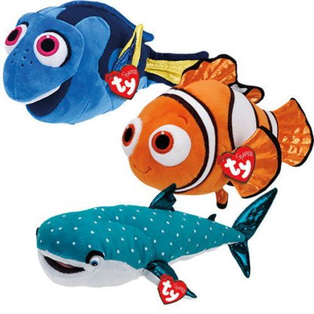 Ty Disney Sparkle Finding Dory Plush Set Of 3 Dory  Nemo And Destiny