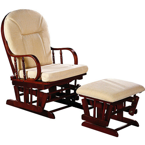 Dream on Me Fillmore Glider and Ottoman, Cherry Finish with Tan Cushions