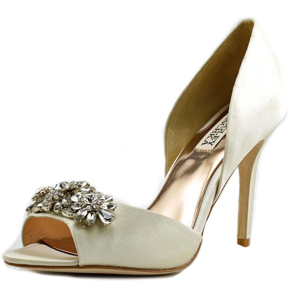 Badgley Mischka Giana Women Open-Toe Canvas Ivory Heels by Badgley Mischka
