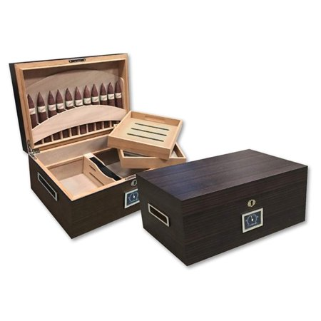 Prestige Import Group - Rockefeller Built-In Partitioned Display Cigar Humidor - Capacity: 130 - Color: Matte Ebony Finish (Ebony Humidor)