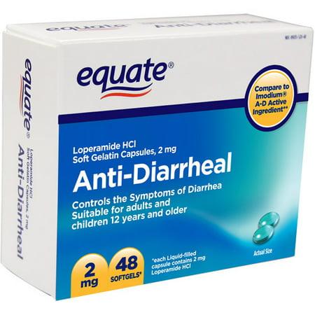 Equate Anti-Diarrheal Soft Gelatin Capsules, 2 mg, 48 count