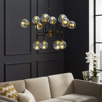 Ambition Amber Glass And Antique Brass 12 Light Pendant Chandelier in