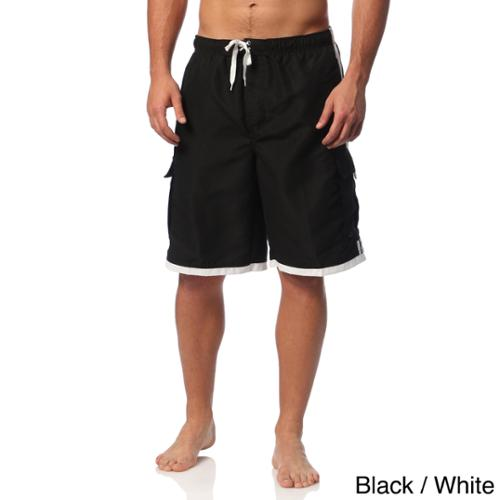 Burnside Men's Swim Striped Board Shorts Black/White  M