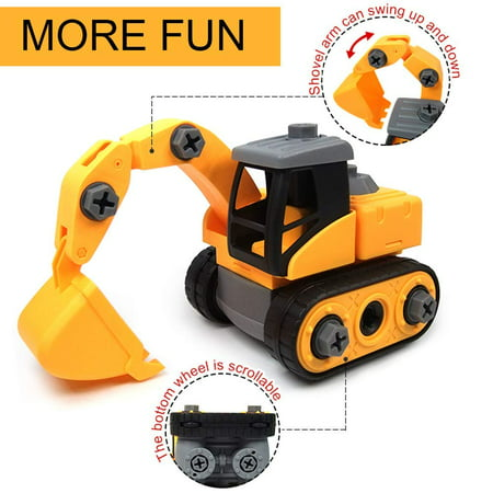 Car Toys For 2 Year Old (Wistoyz Take Apart Car Construction Toys for 2-3 -4 -5-6-7 Years Old Boys & Girls, DIY Assembling Excavator Toy,STEM Toys with Screwdriver, Build Your Own Car Kit, Toy Cars for)