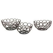 Set of 3 Decorative Open Wire Circle Design Bowls