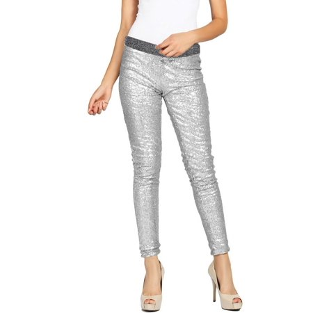Women Fashion Shiny Sequin Stretch Underwear Skinny Legging Tight Pant Silver M (Sequined Leggings)