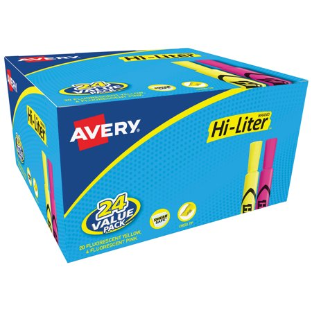 Avery Hi-Liter Desk Style Highlighters, Yellow/Pink, Smear Safe Nontoxic, Pack of