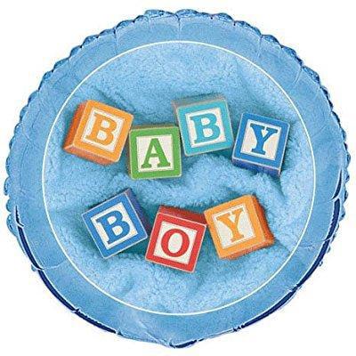 Baby Boy Blocks Baby Shower Foil Balloon 18