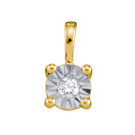 10kt Yellow Gold Womens Round Diamond Illusion-set Solitaire Pendant 1/10 Cttw - image 1 of 1