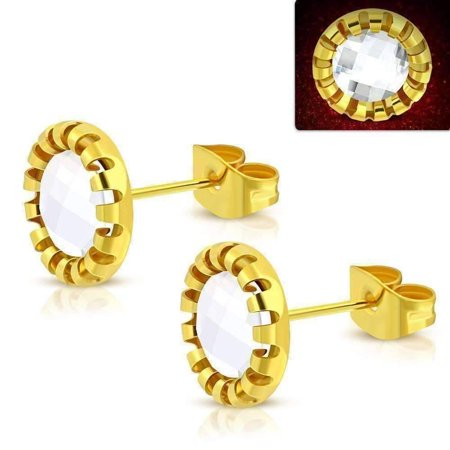 CLEARANCE - Aurora Borealis Glass Button Stud Stainless Steel Earrings Clear / 18K Gold Plated