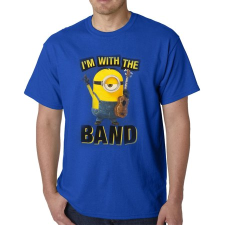 Minions With The Band Mens Blue T-Shirt | 2XL - Name Of The Minions