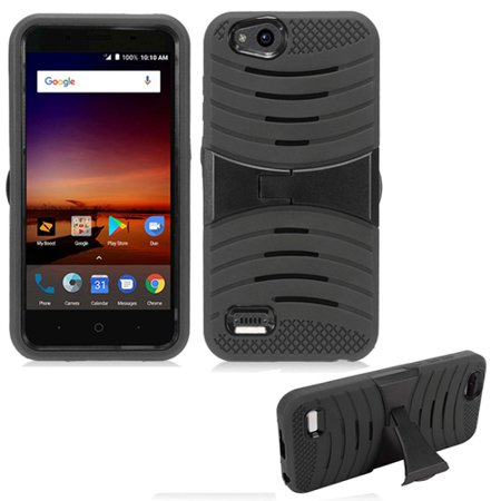 Phone Case For Consumer Cellular ZTE Avid 557 / Verizon ZTE Blade Vantage / Boost ZTE Tempo-X N9137 / ZTE Avid-4 Rugged Heavy Duty Armor Cover Stand (Armor Case Black Skin-Black Stand
