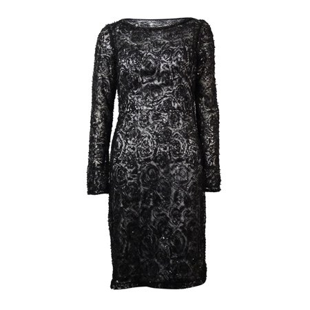 (Sue Wong Women's Sequined Mesh Overlay Dress (2, Black))