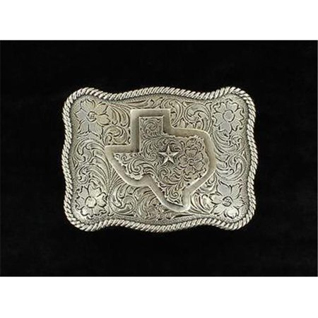 M&F Western Products 37528 Mens Rectangle Rope Edge Texas Buckle - Antique (Edge Buckle)
