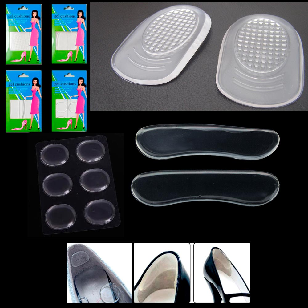 4c27ef0344 12Pc Silicone Gel Cushion High Heel Shoe Protector Insoles Feet Arch  Support Pad - Walmart.com