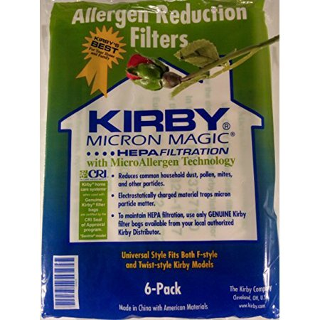 Kirby Vacuum Cleaner Disposable Cloth Paper Bags White Hepa Bags 6 Pack Universal Style Fits ALL Kirby Models Cloth Hepa Vacuum Bags