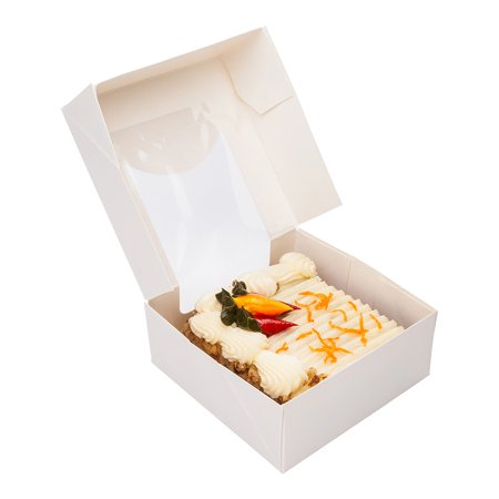 "Paper Take Out Container, Paper To Go Box with Window - White - Square 3.9"" - Cafe Vision - 200ct Box"