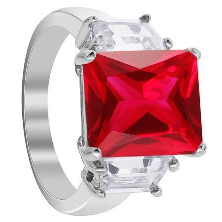 Avenue Mary Janes - Gem Avenue Sterling Silver Ruby Cubic Zirconia Ring Emerald Cut Three Stone Engagement CZ