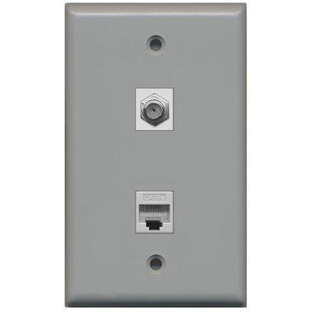 - RiteAV - 1 Coax F Type and 1 Cat5e Ethernet Port Wall Plate - Gray