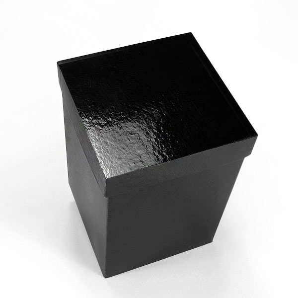 "25ea - 6 X 6 Gloss Black Lux Fld-Up Gift Box Lid-P Width 6"" by Paper Mart"