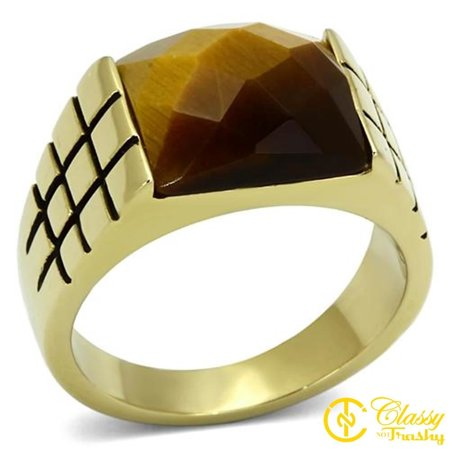 Mens Stainless Steel Tigers - Classy Not Trashy® Men's 13 mm Stone Sized Stainless Steel Tiger Eye Ring - Size 10