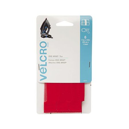 Velcro Usa Consumer Pdts 90475 One Wrap Fastener Ties  Red  11 X 7 8 In  3 Ct