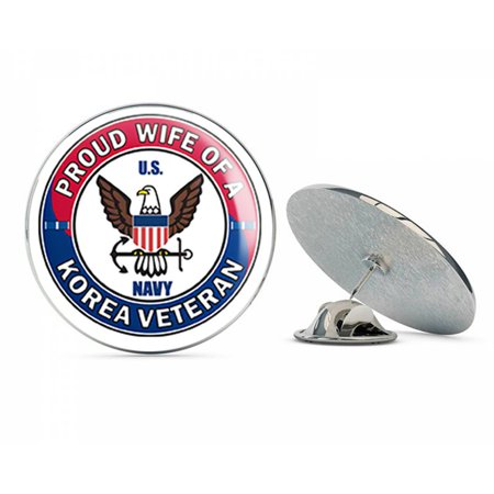 Wife Hat Pin - US Navy Proud Wife of a Korea Veteran Military Veteran USA Pride Served Gift Metal 0.75