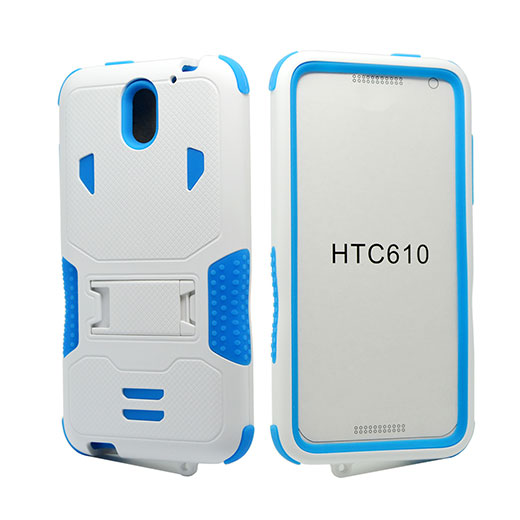 HTC Desire 610 Impact Silicone Case Dual Layer with Stand White Blue