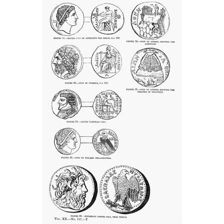 Ancient Greek Coins Nline Engravings American Mid-19Th Century Rolled  Canvas Art - (24 x 36)