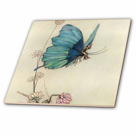 3dRose Fairy in the Garden - Vintage Art - Glass Tile, 4-inch](The Vintage Fairy)