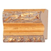"Picture Frame Moulding (Wood) - Ornate Gold Finish - 2.5"" width - 3/8"" rabbet depth"