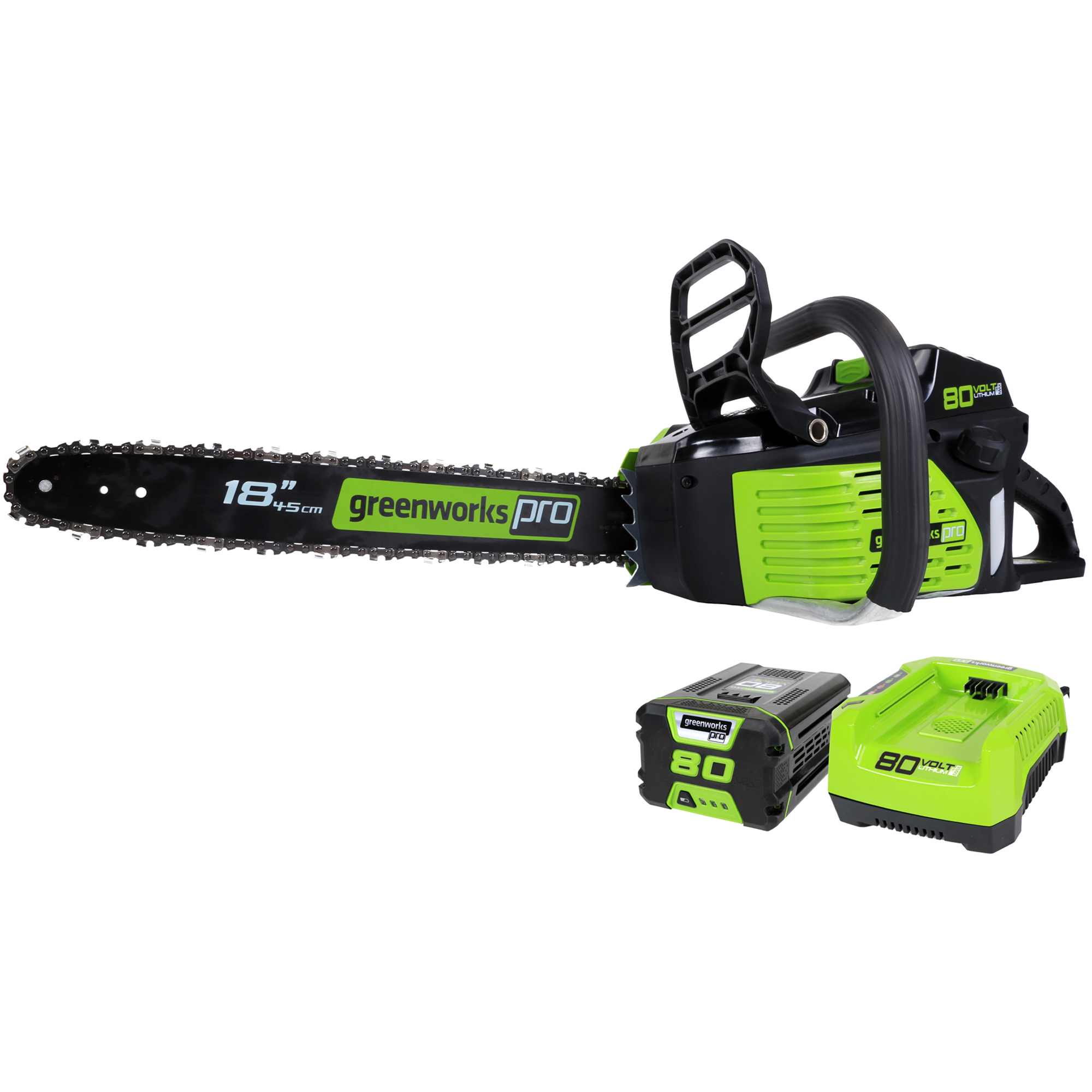 """GreenWorks GCS80420 80-Volt 18"""" Cordless Chainsaw, Includes 2.0AH Li-Ion Battery and Charger"""